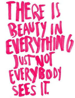 Beautiful people quote There is beauty in everything just not everybody sees it