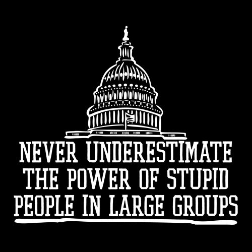 Group quote Never underestimate the power of stupid people in large groups.