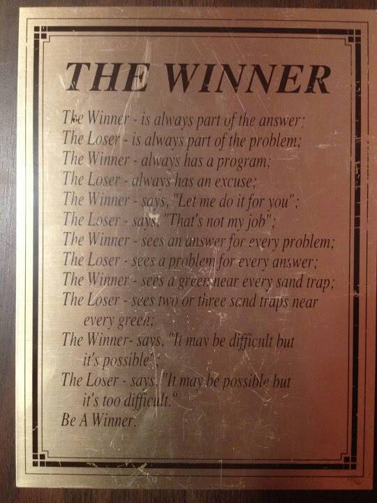 Winners quote The Winner !