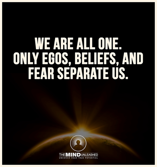 Separated quote We are all one. Only Egos, Beliefs and Fear separate us.
