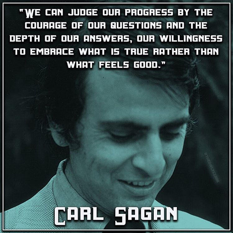 Carl Sagan quote We can judge our progress by the courage of our question and the depth of our an