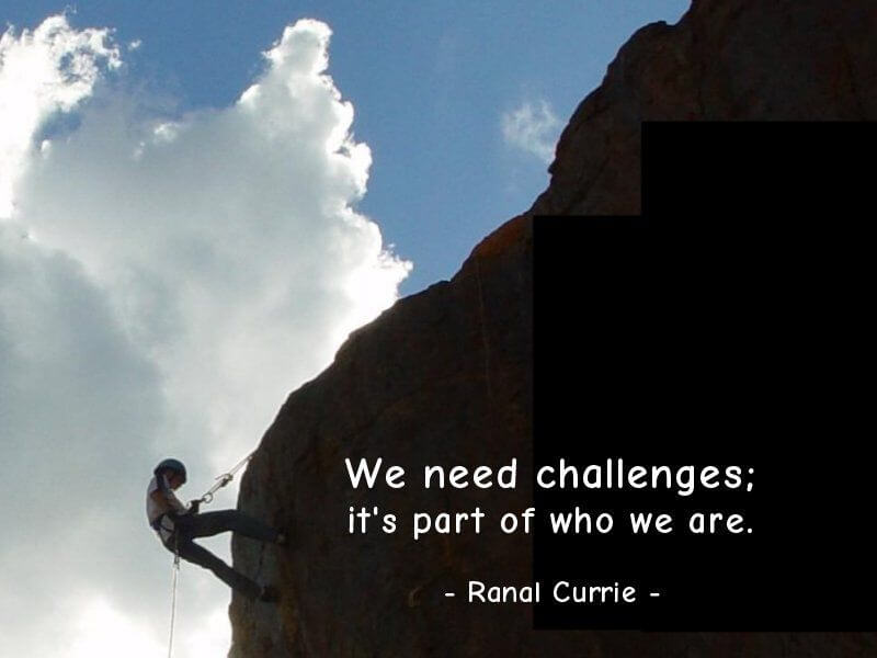 Self quote We need challenges; its part of who we are.