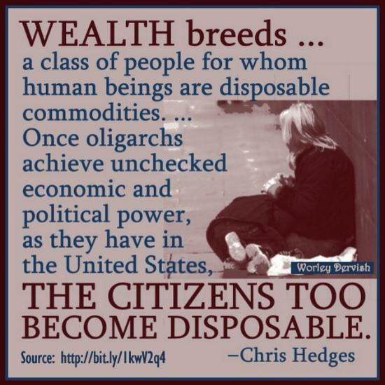 State legislatures quote Wealth breeds a class of people for whom human beings are disposable commodities