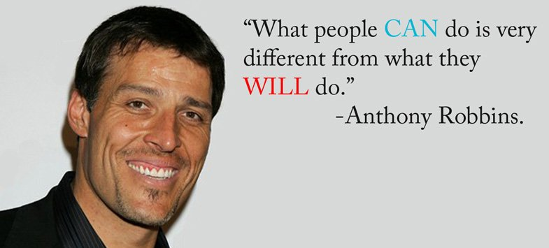 Different peoples quote What people can do is very different from what they will do.