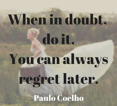 Picture quote by Paulo Coelho about doubt