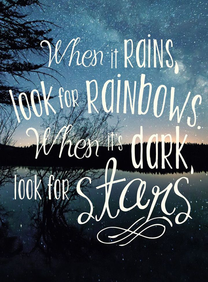 Rain quote When it rains, look for rainbows. When it's dark, look for stars.