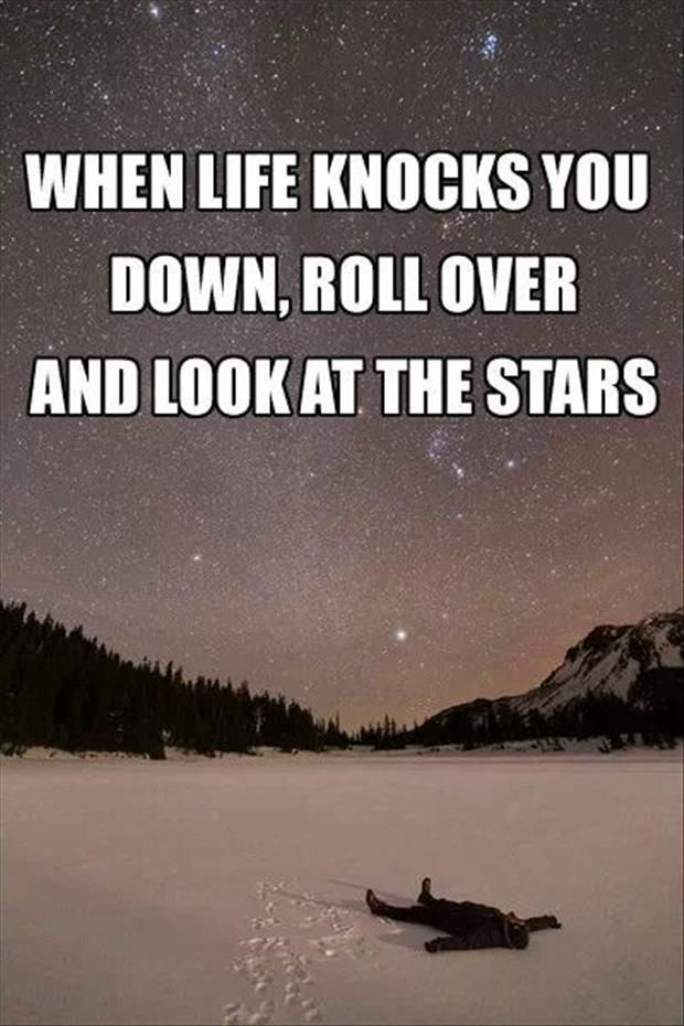 Knocked down quote When life knocks you down, roll over and look at the stars.
