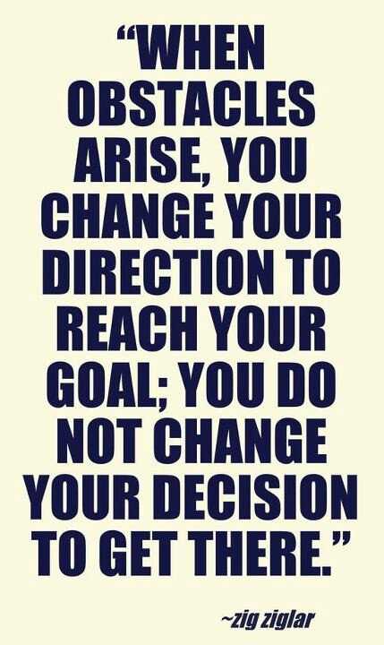 Obstacles quote When obstacles arise, you change your direction to reach you goal; you do not ch