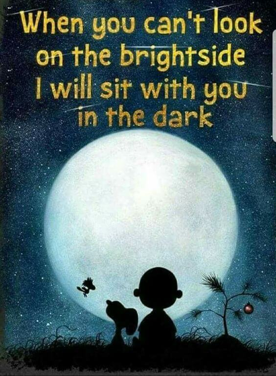 Experience quote When you can't look on the bright side I will sit with you in the dark.