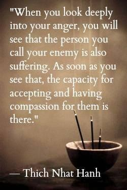 Compassion quote When you look deeply into your anger, you will see that the person you call your