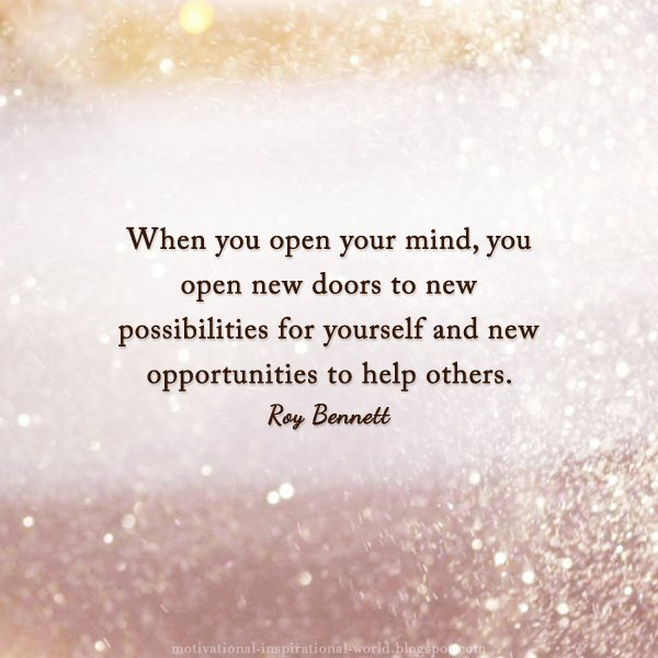 When You Open Your Mind You Open New Doors T Roy Bennett Image
