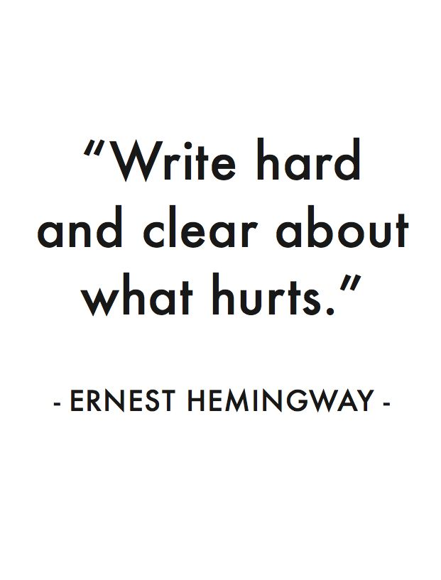 Hard quote Write hard and clear about what hurts.