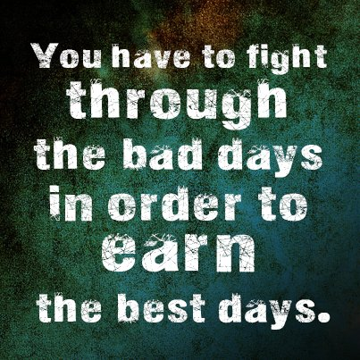 Fighting for freedom quote You have to fight through the bad days in order to earn the best days.