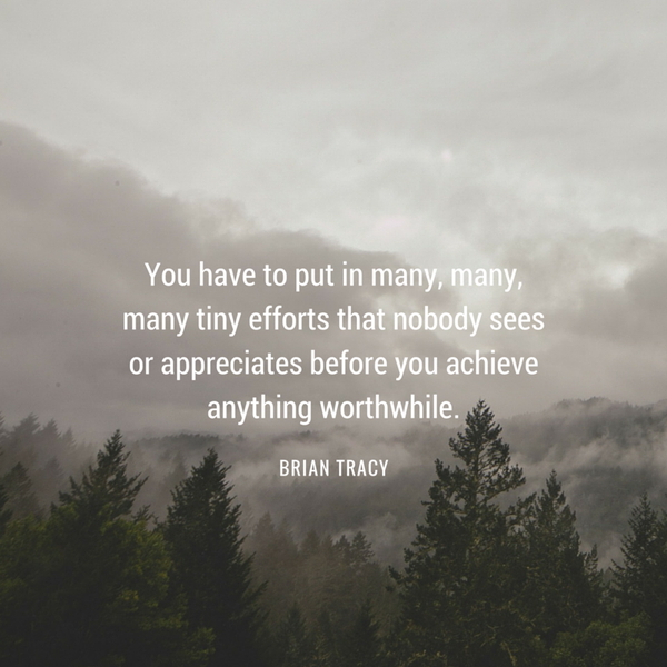 Worthwhile quote You have to put in many, many, many tiny efforts that nobody sees or appreciates