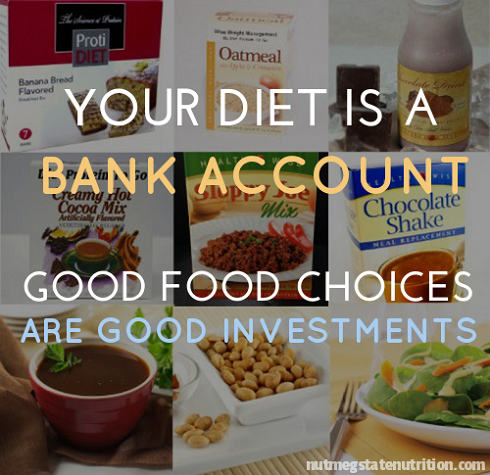 Health food quote Your diet is a bank account, good food choice are good investments.