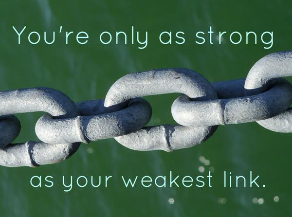 Linking quote You're only as strong as your weakest link.